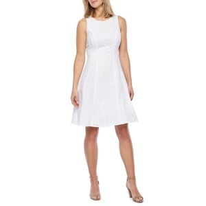 Worthington White Eyelet Fit and Flare Dress